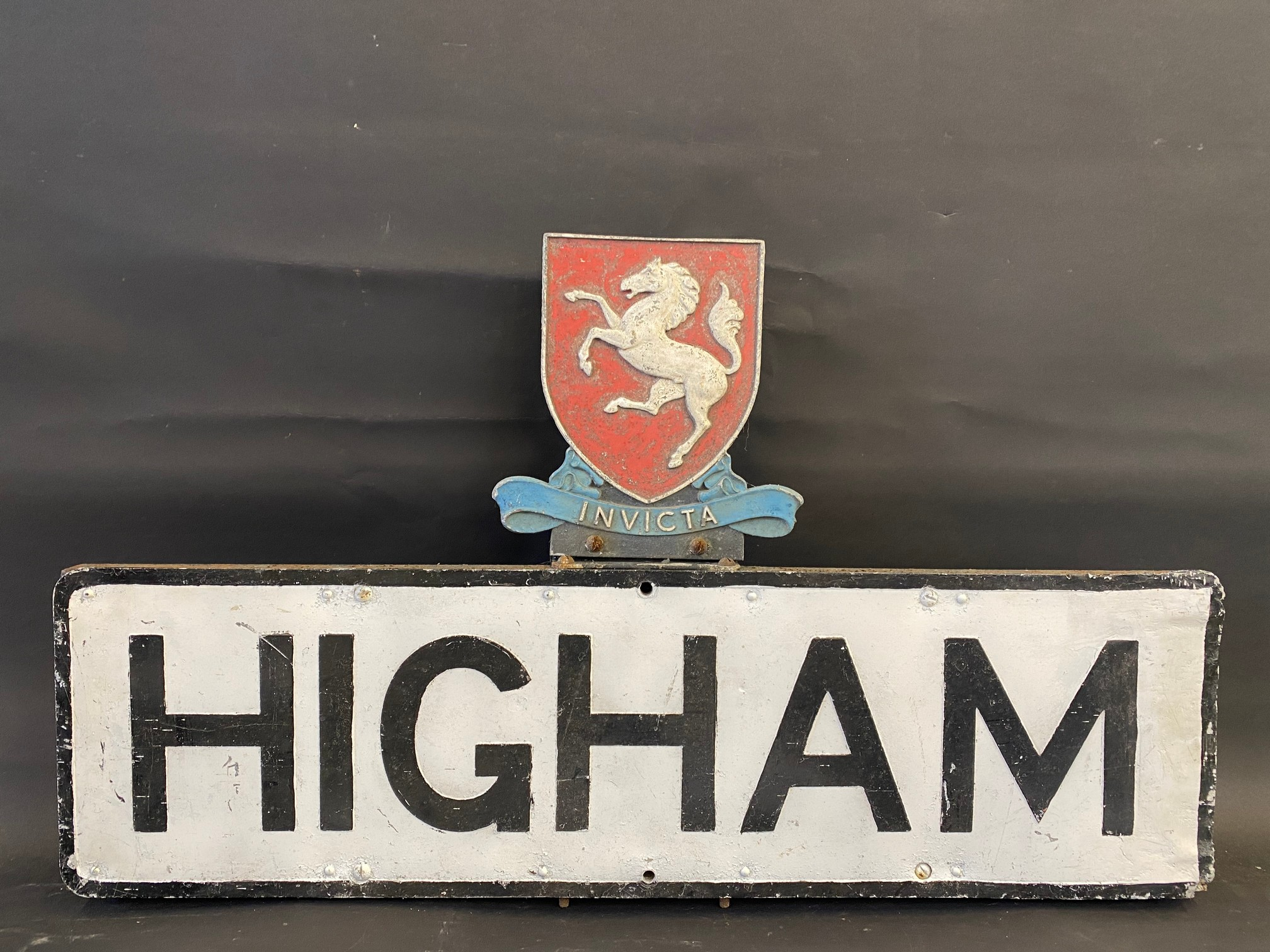 A district road sign for 'Higham' surmounted by an 'Invicta' shield, (Strood near Chatham), 36 x
