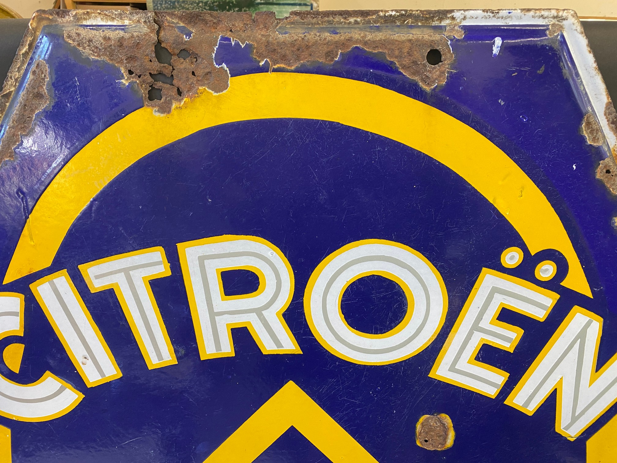 """A large Citroen Motor Cars double sided enamel sign, 30 x 44"""". - Image 5 of 6"""