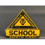 """An AA School 'Safety First' enamel sign by Franco, with excellent gloss, 26 x 22""""."""