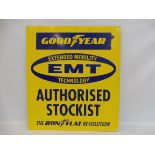 """A Goodyear Authorised Stockist advertising sign, 31 1/4 x 35 1/2""""."""