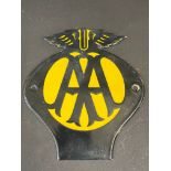 """A small AA enamel plaque, in excellent condition, 5 1/2 x 6""""."""