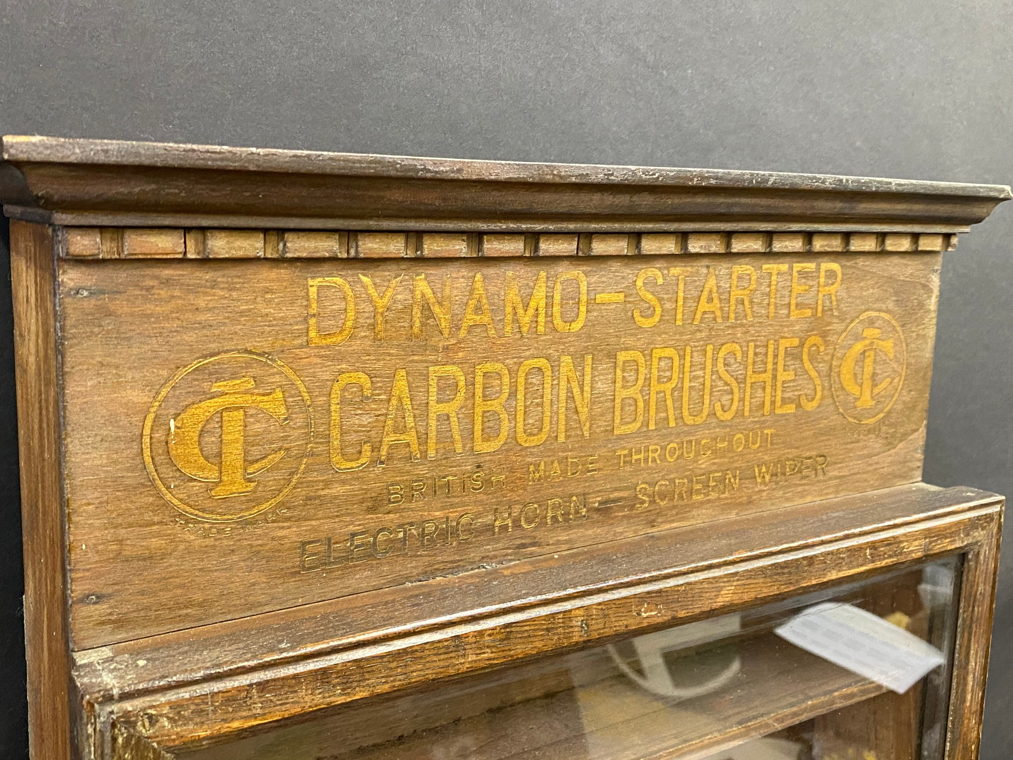 A 'Dynamo-Starter Carbon Brushes' narrow wall mounted front opening display/dispensing cabinet, - Image 2 of 4