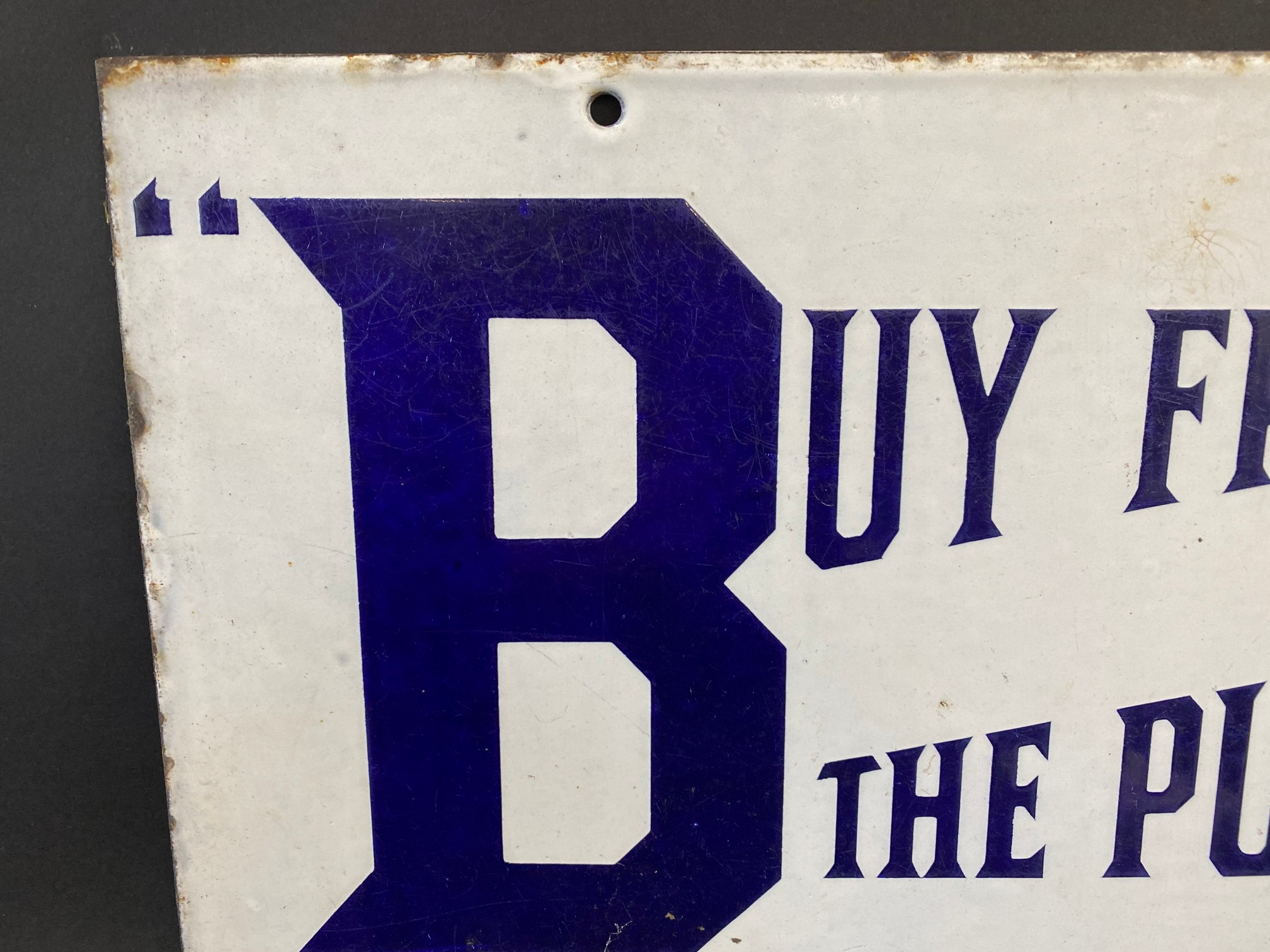 A BP 'Buy from the Pump' rectangular double sided enamel sign with good colour and gloss, by - Image 2 of 5
