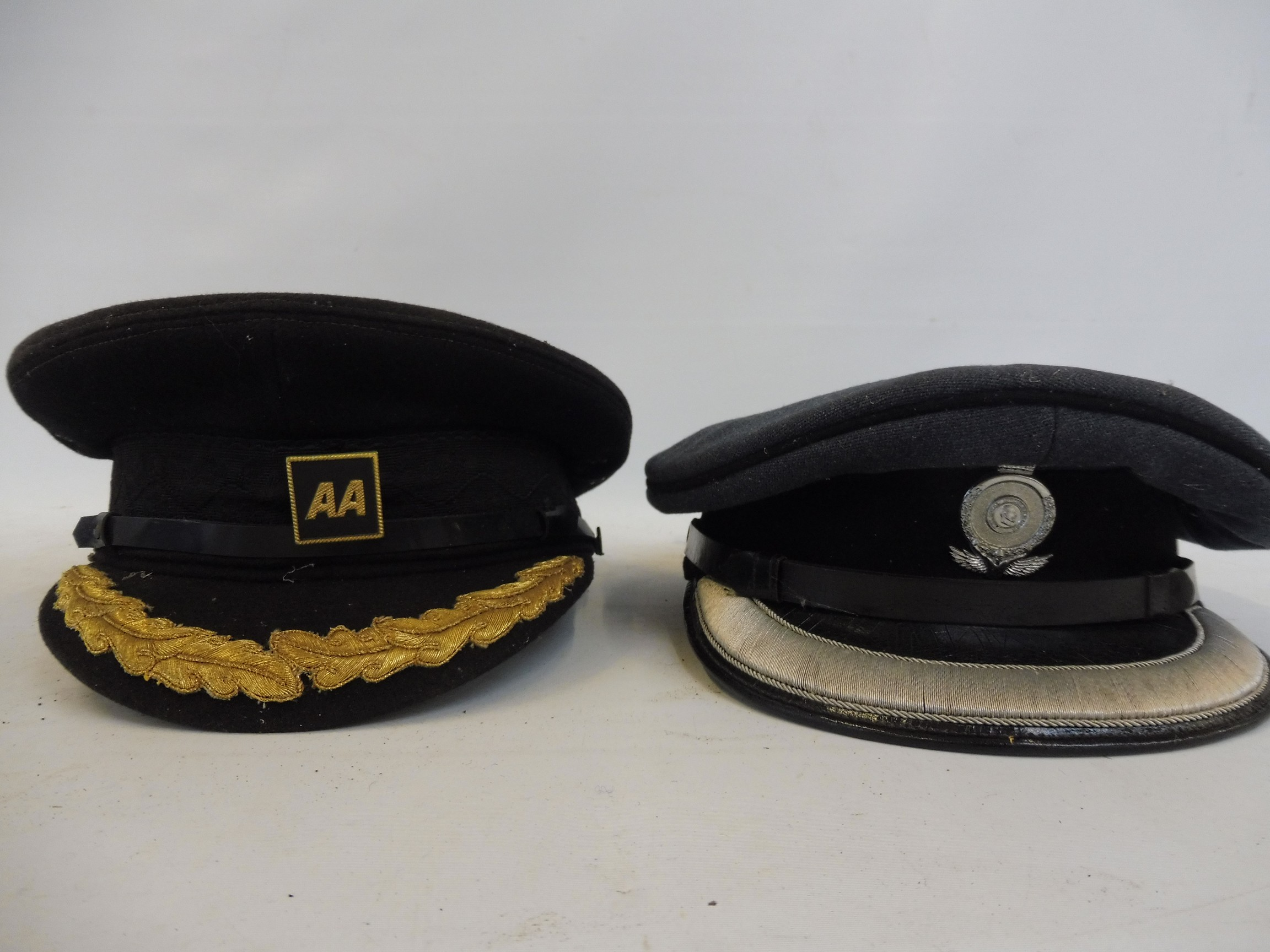 Eight original RAC and AA caps, all with badges attached. - Image 8 of 8