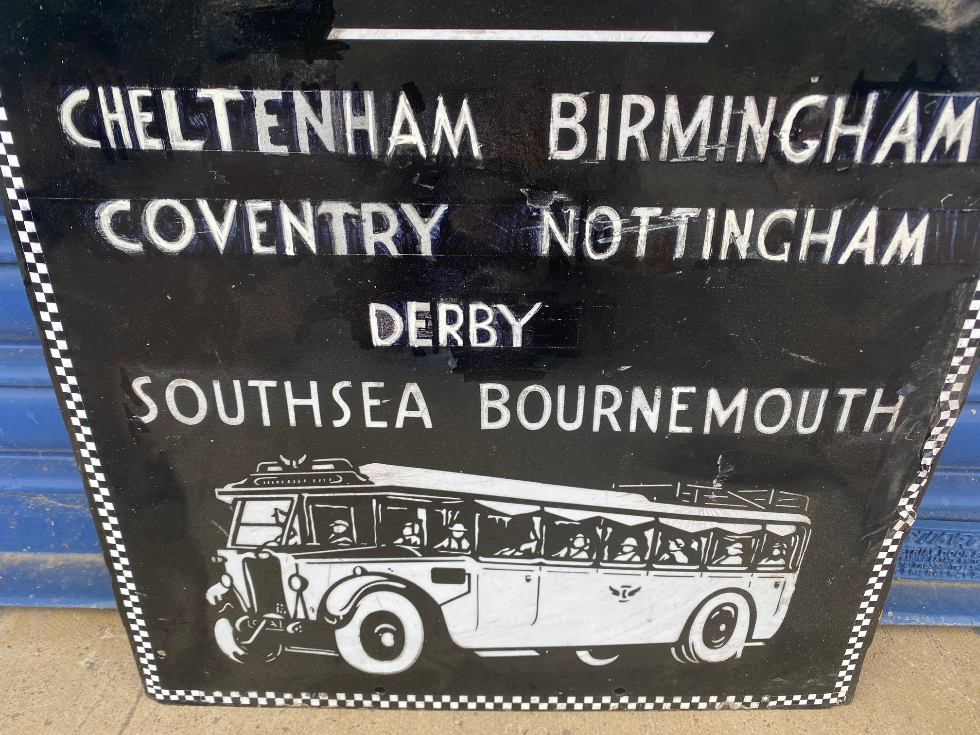 A Black and White Motorways Ltd Booking Office part pictorial enamel sign, heavily restored. - Image 3 of 5