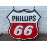"""A Phillips 66 double sided lightbox, 50"""" w x 50"""" h x 8 1/2"""" d."""