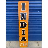 """An India Tyres narrow enamel sign by Franco, the white outlines overpainted, 12 x 64""""."""