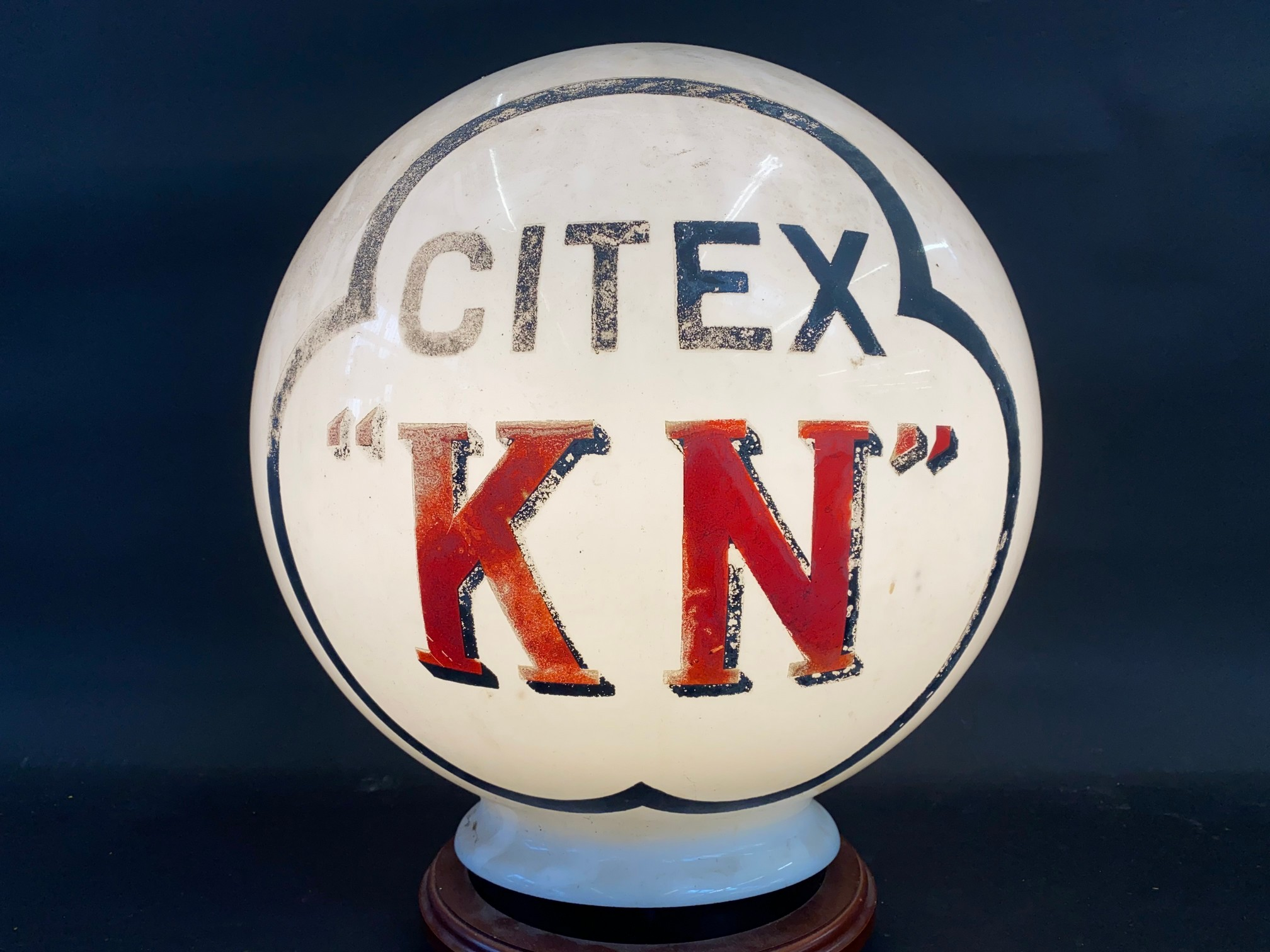 A very rare Citex 'KN' spherical ball glass petrol pump globe, in good original condition. - Image 3 of 5