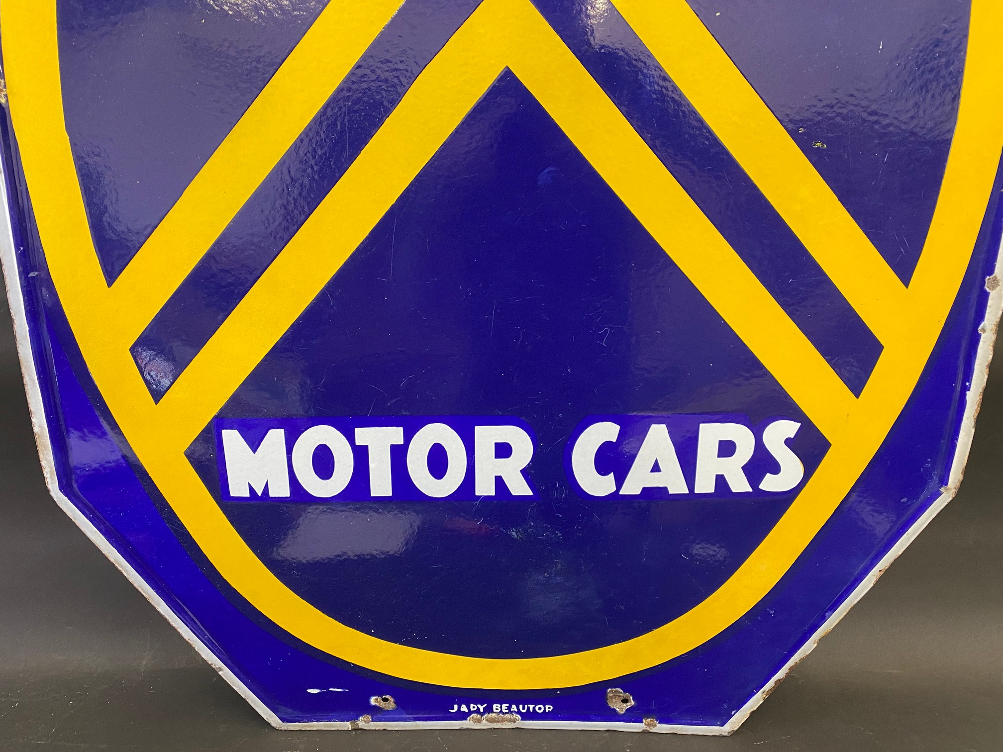 """A large Citroen Motor Cars double sided enamel sign, 30 x 44"""". - Image 3 of 6"""
