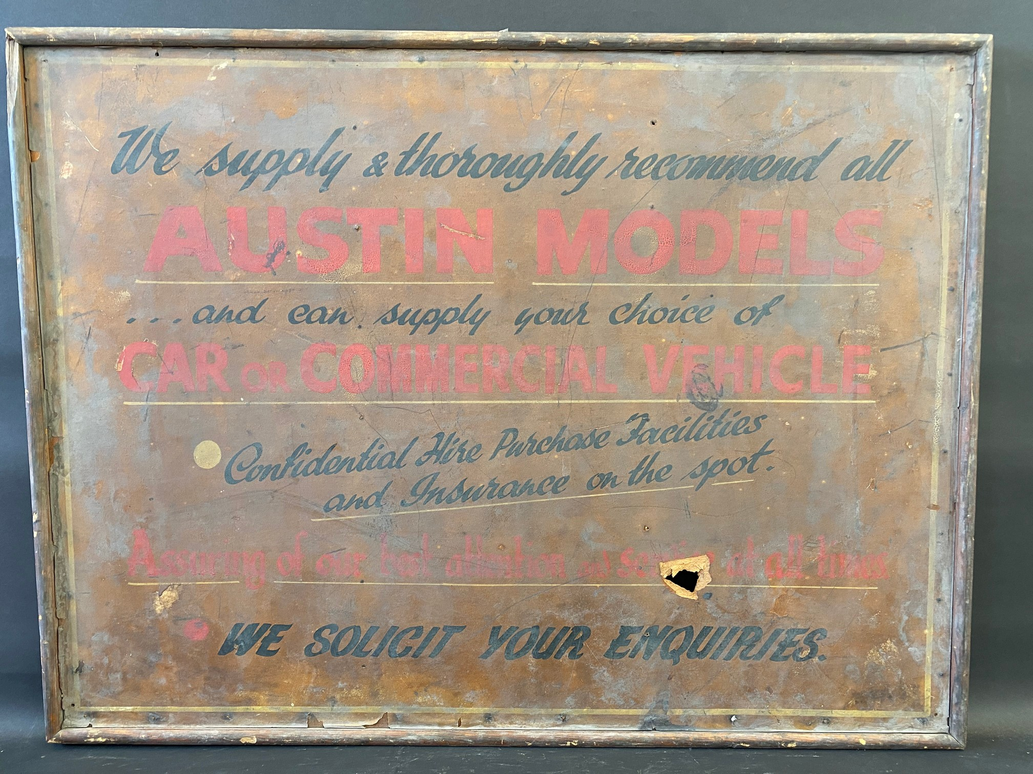 An early garage wooden framed advertising sign for Austin models, car or commercial (recently