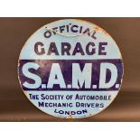 A Society of Automobile Mechanic Drivers London 'Official Garage' circular double sided enamel sign,