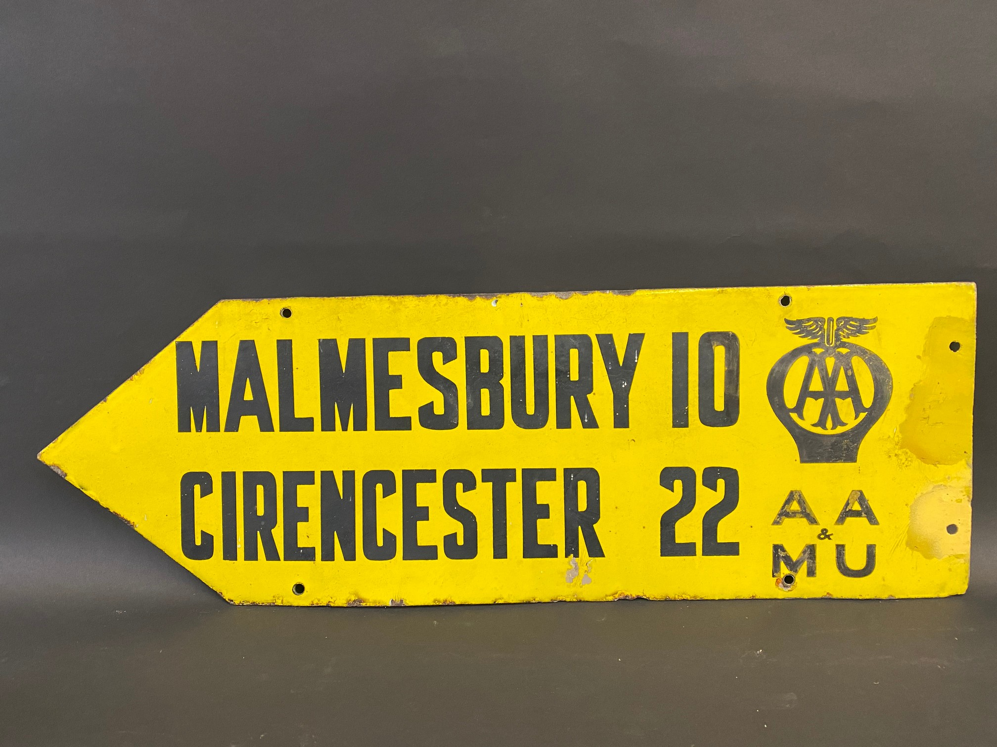 An AA & Motor Union double sided directional enamel sign by Franco, pointing to Malmesbury and - Image 4 of 4
