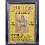 A very rare Dunlop Tyres showcard set within its original moulded Dunlop advertising frame 'King