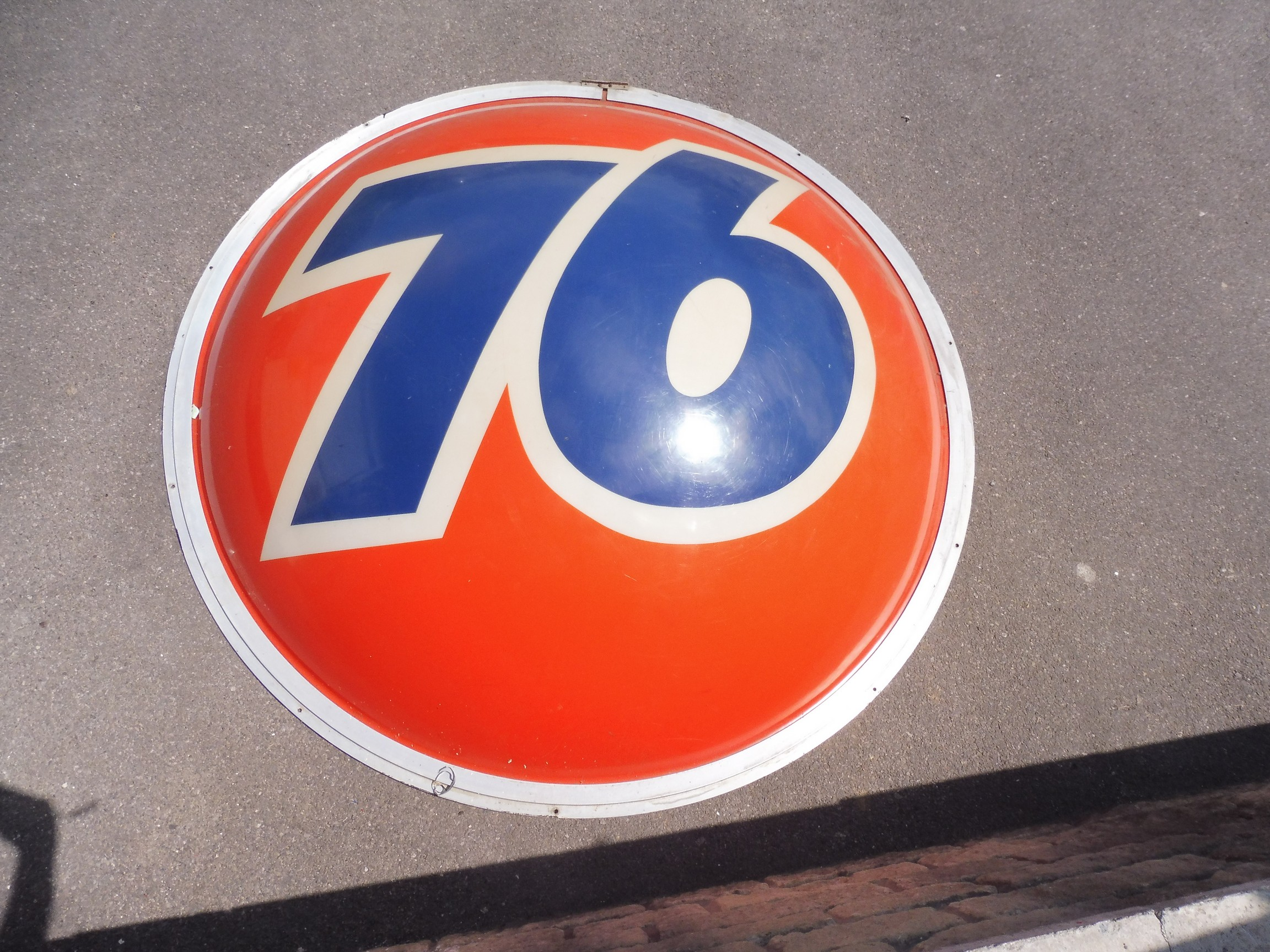 """A very large '76' American oil company plastic domed sign, 73"""" diameter."""