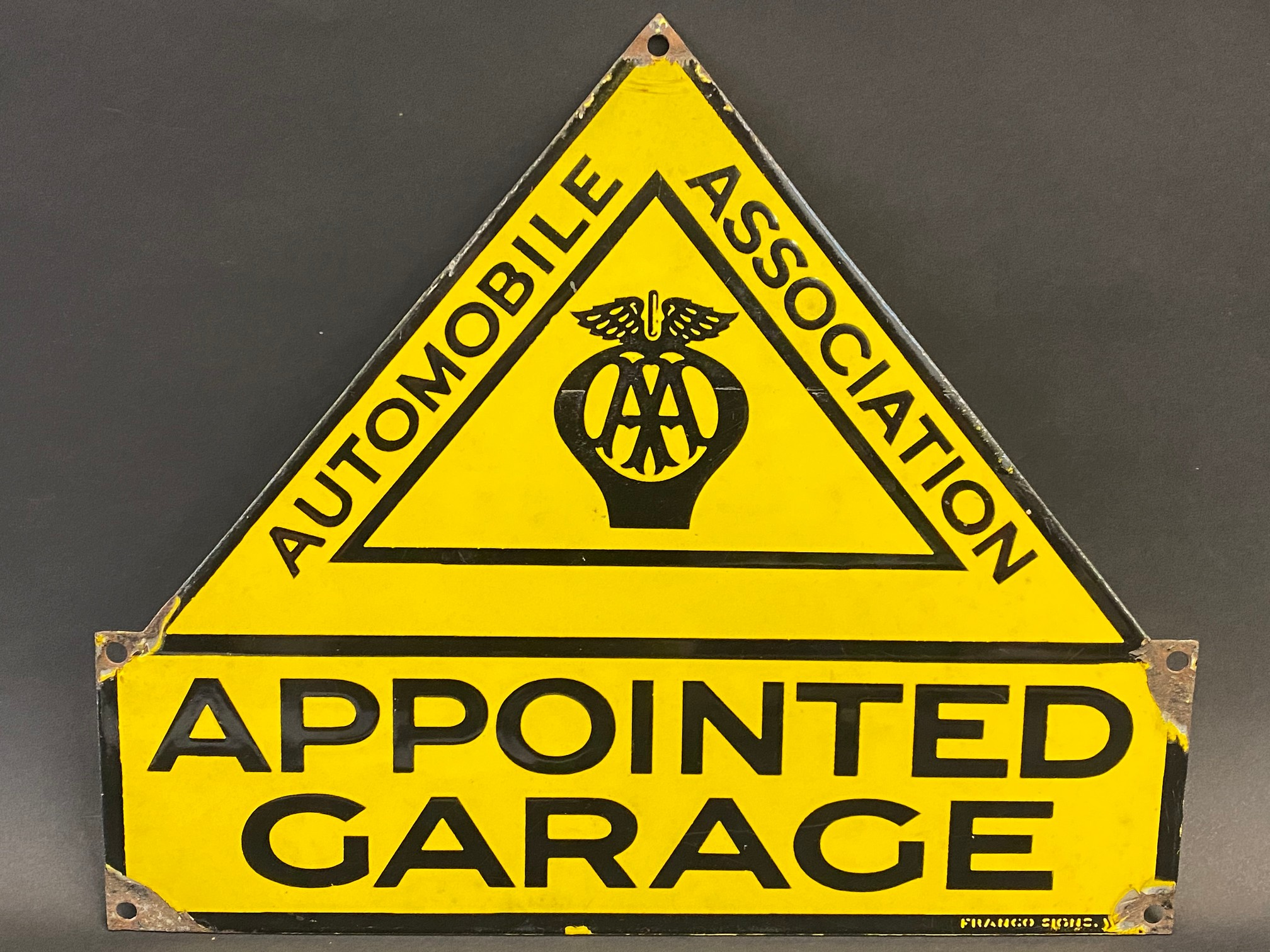 """An AA Appointed Garage enamel sign with excellent gloss by Franco Signs, 13 x 11""""."""