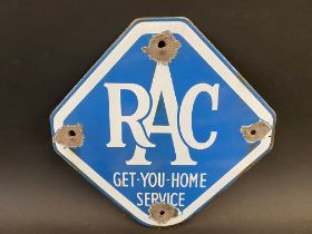"An RAC Get-You-Home Service lozenge shaped enamel sign, 10 1/2 x 10 1/2""."
