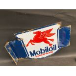 """A Continental Mobiloil Standard-Vacuum double sided enamel sign with hanging flange, 24 x 16""""."""