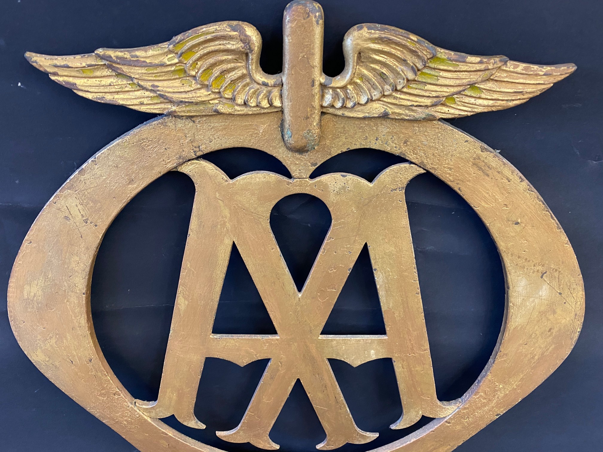 """A rare large scale AA Members Policies bronze die-cut emblem sign, 24 x 27"""". - Image 2 of 4"""