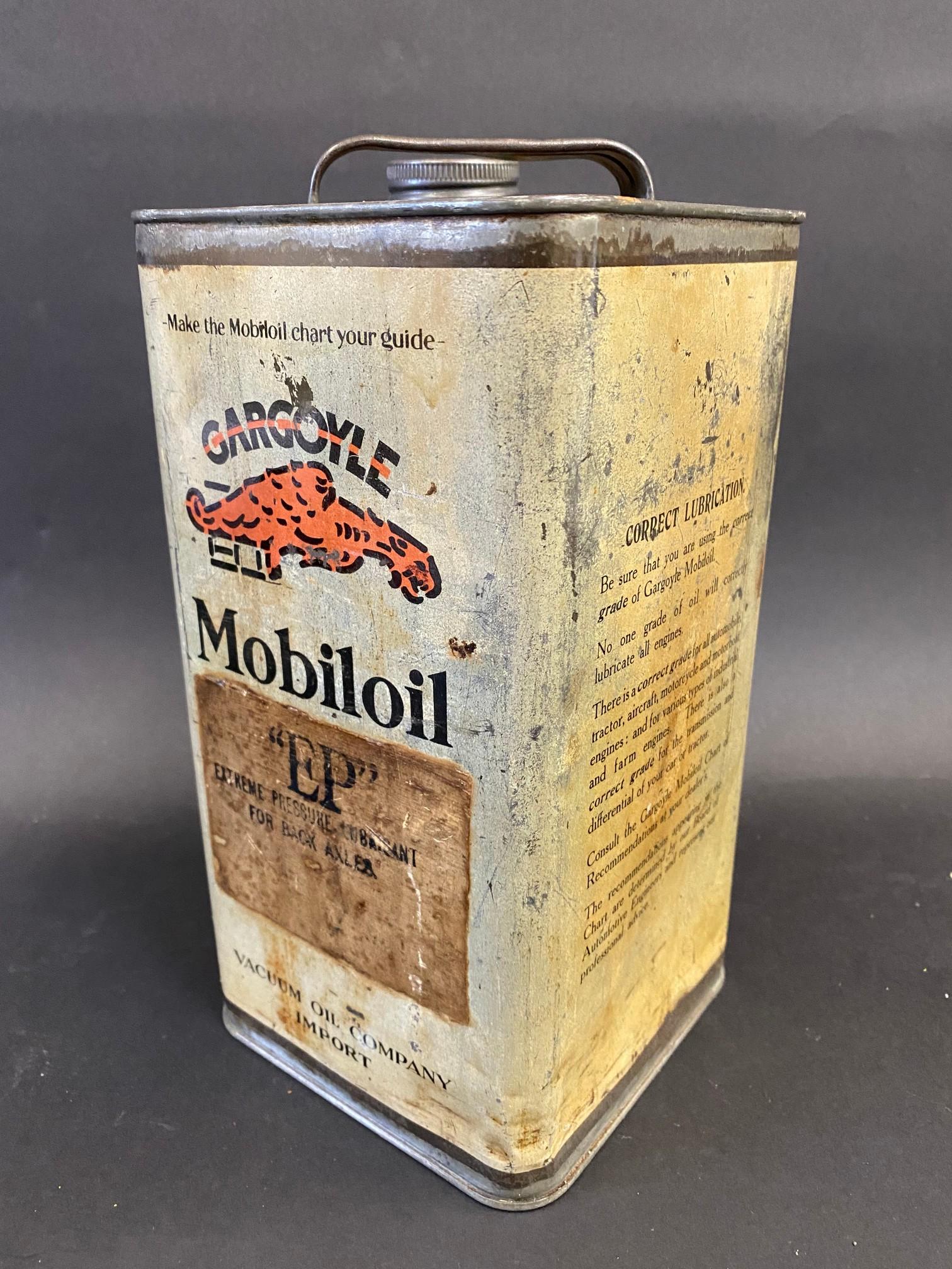 A Gargoyle Mobiloil E.P. grade (Extreme Pressure Lubricant) square gallon can.