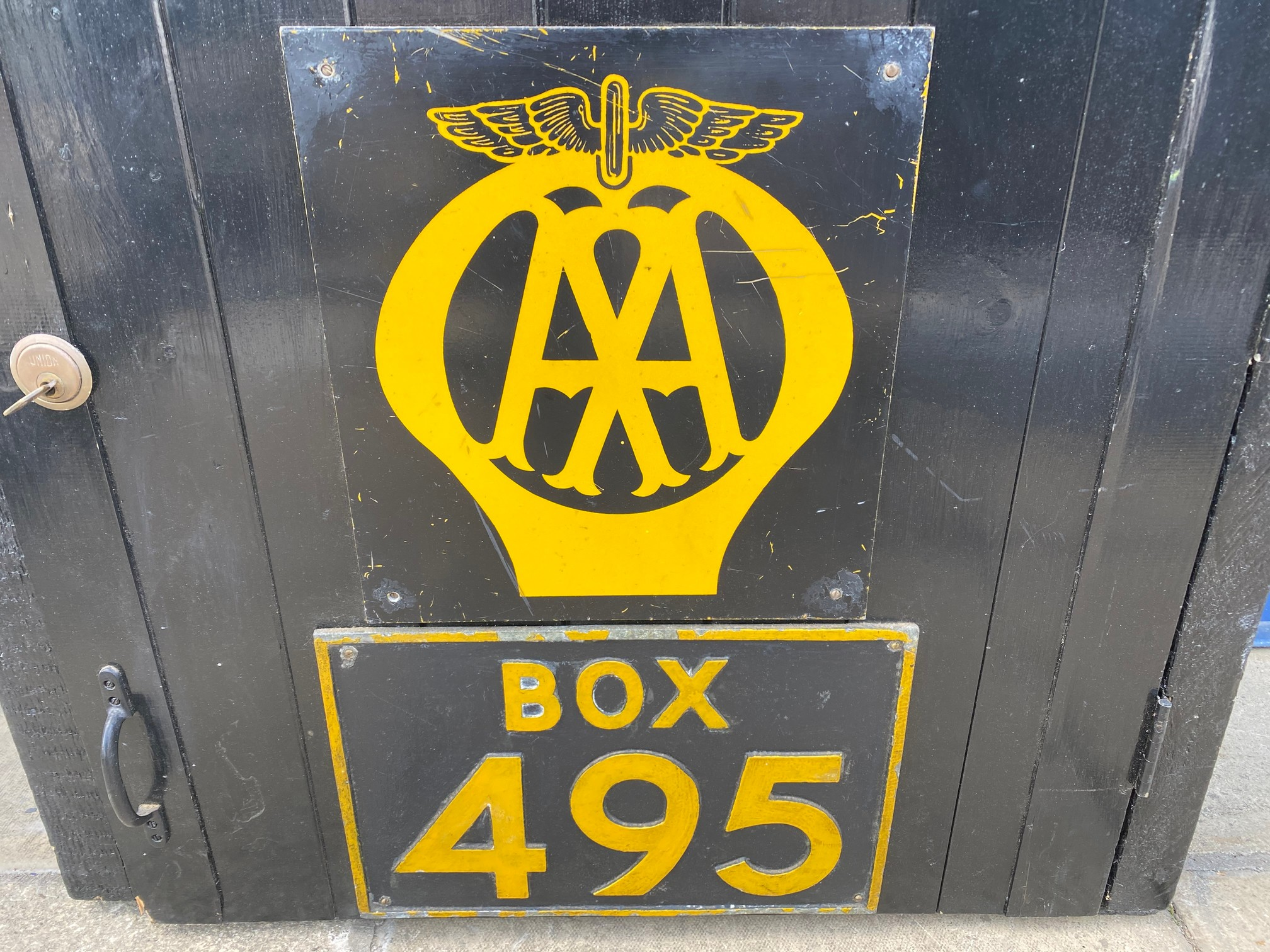 The complete contents and signage from the original AA Formby box, no. 495, removed when the box was - Image 2 of 8