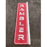 A very large American Rambler two piece enamel sign with holes in each letter for illumination,