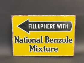 """A National Benzole Mixture double sided enamel sign with hanging flange, 18 x 12""""."""
