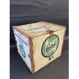 A Castrol Motor Oil packing crate for six gallon tins.