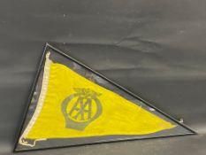 """A framed and glazed AA pennant flag, 34 1/2 x 21""""."""