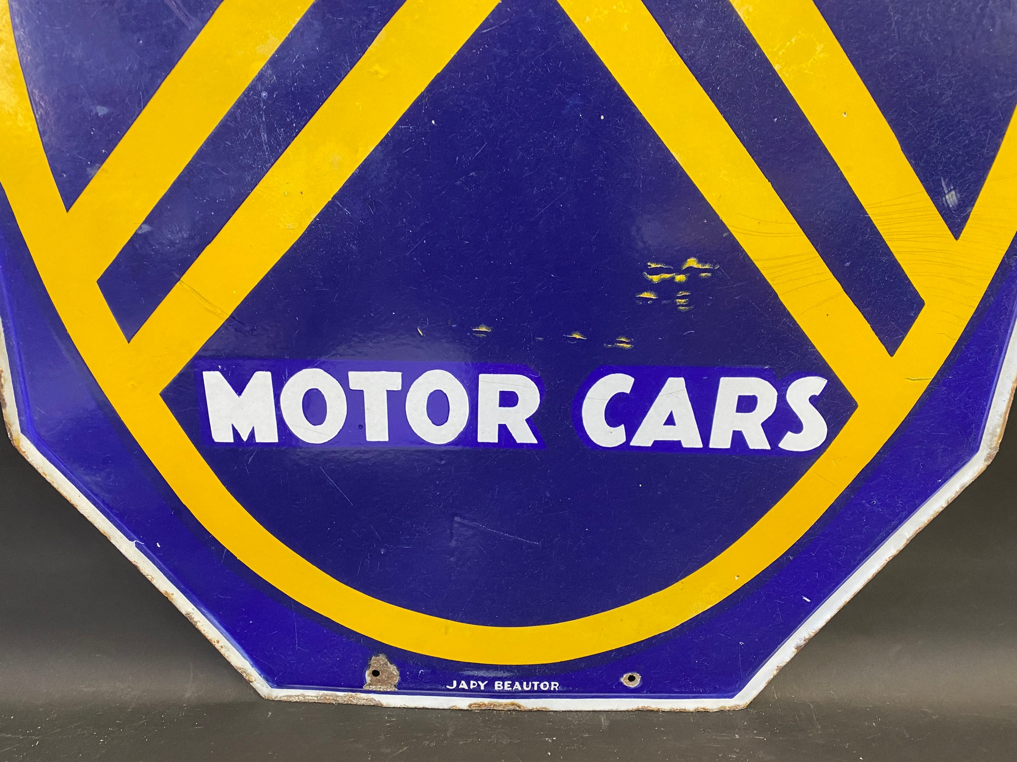 """A large Citroen Motor Cars double sided enamel sign, 30 x 44"""". - Image 6 of 6"""