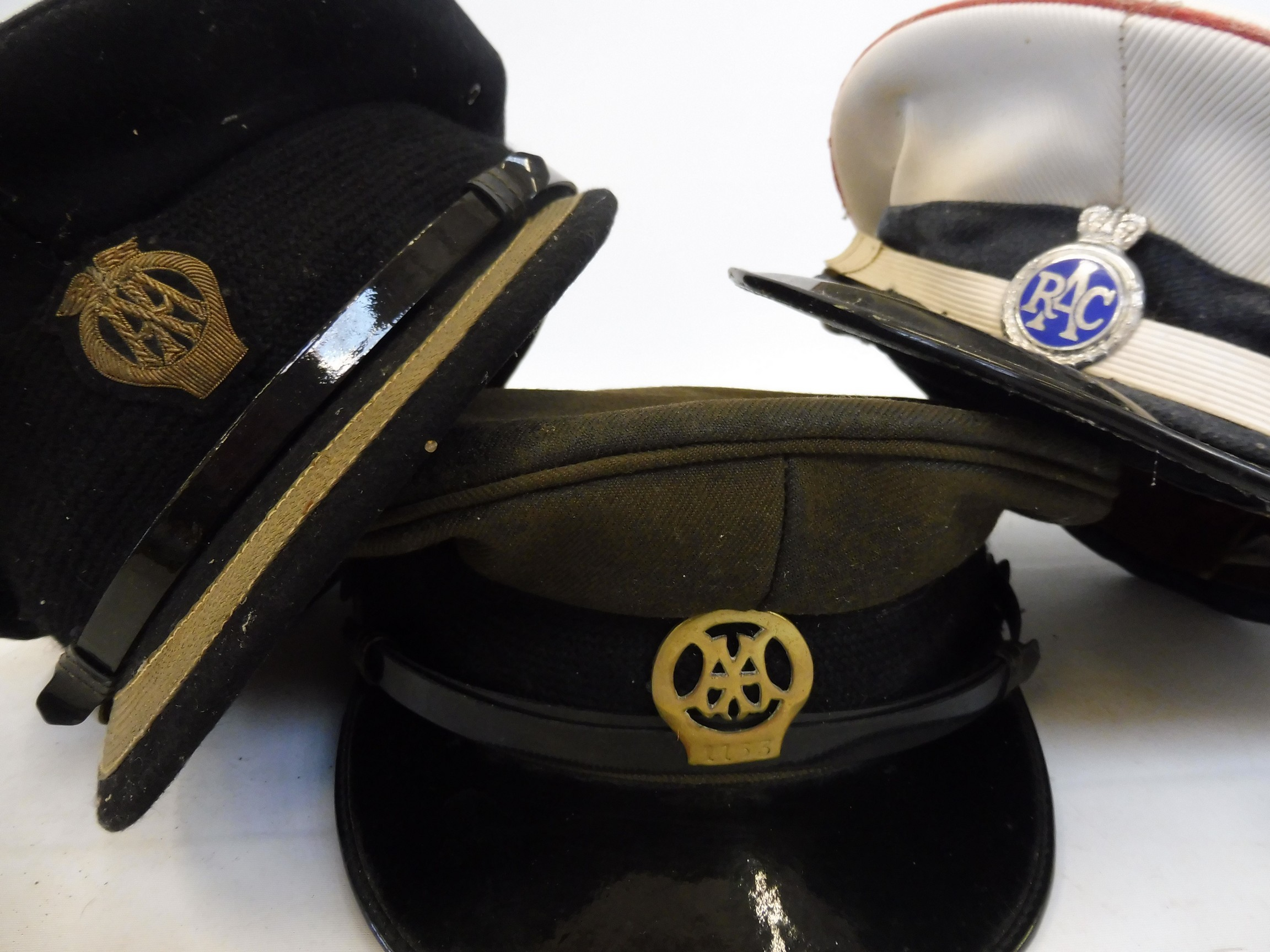Eight original RAC and AA caps, all with badges attached. - Image 6 of 8