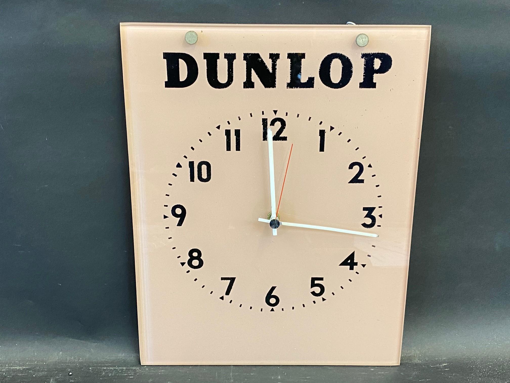 "A Dunlop glass hanging garage showroom advertising wall clock, 11 x 14""."