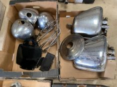 An autojumbler's lot of Triumph tinware in two boxes.