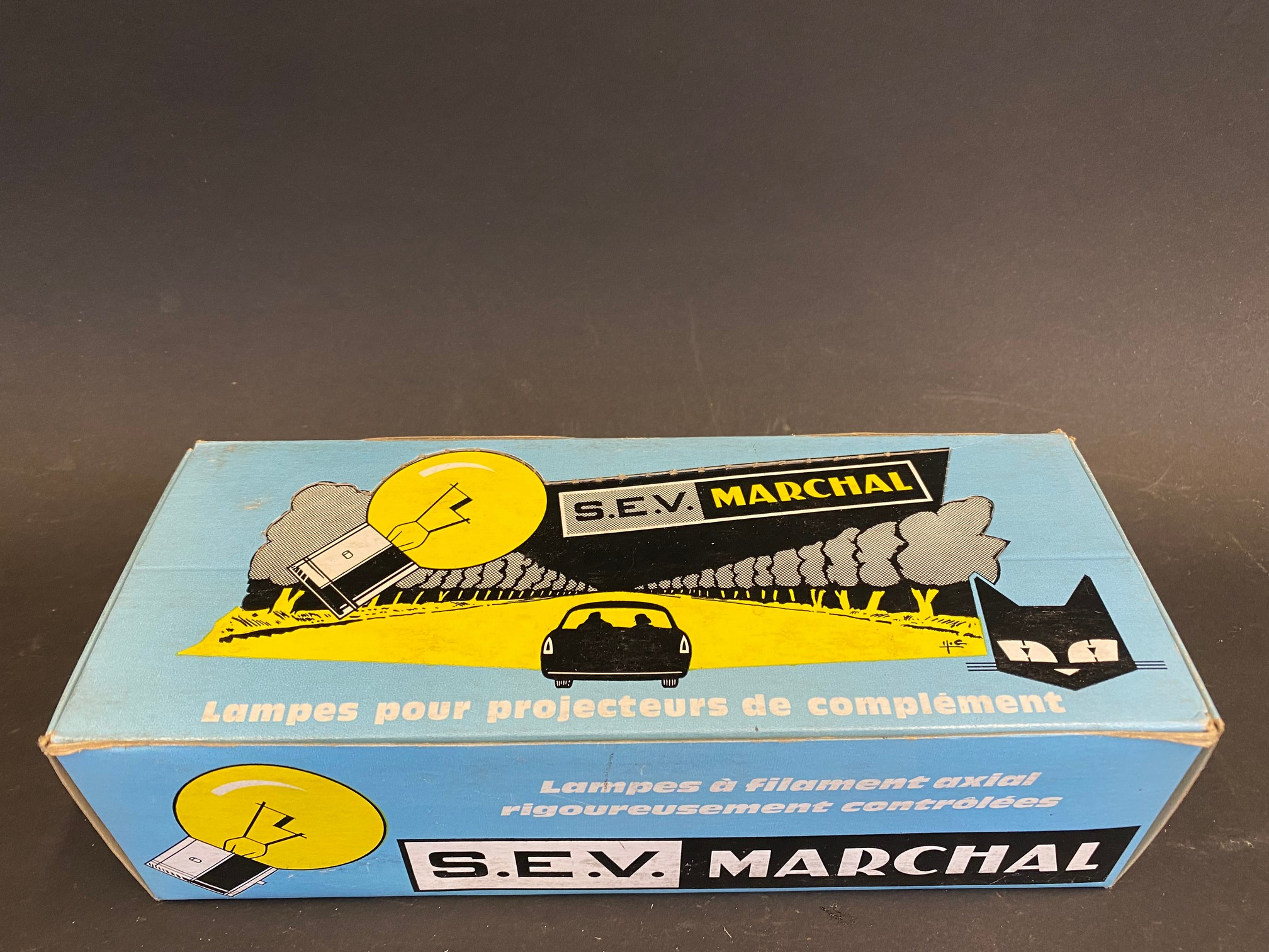 A complete boxed set of S.E.V. Marchal car bulbs, housed in a great advertising display box.