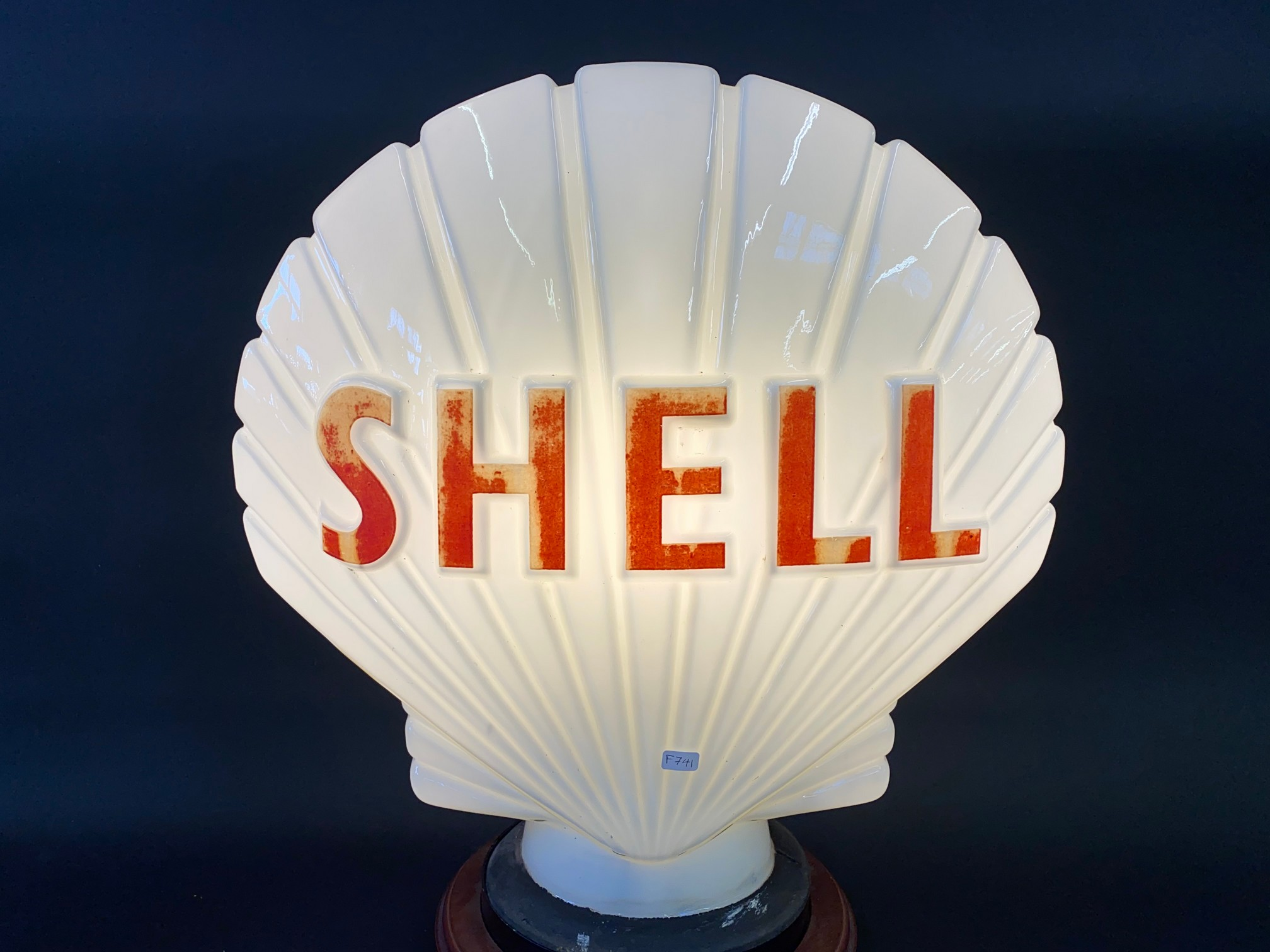A Shell glass petrol pump globe by Hailware, fully stamped underneath, some damage to the neck under - Image 2 of 4