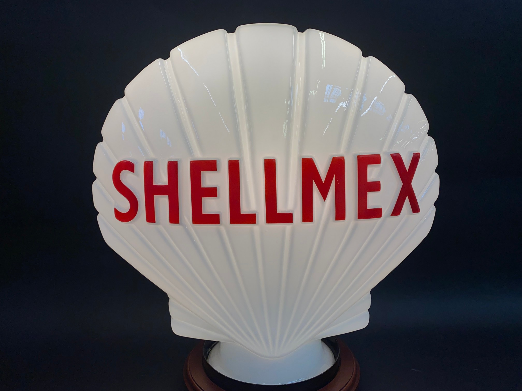 A Shellmex glass petrol pump globe in superb condition, possibly never been on a pump, fully stamped