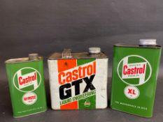 A Castrol GTX 2.5 litre can, a Wakefield Castrol Motor Oil XL grade quart can plus a Castrol Gear