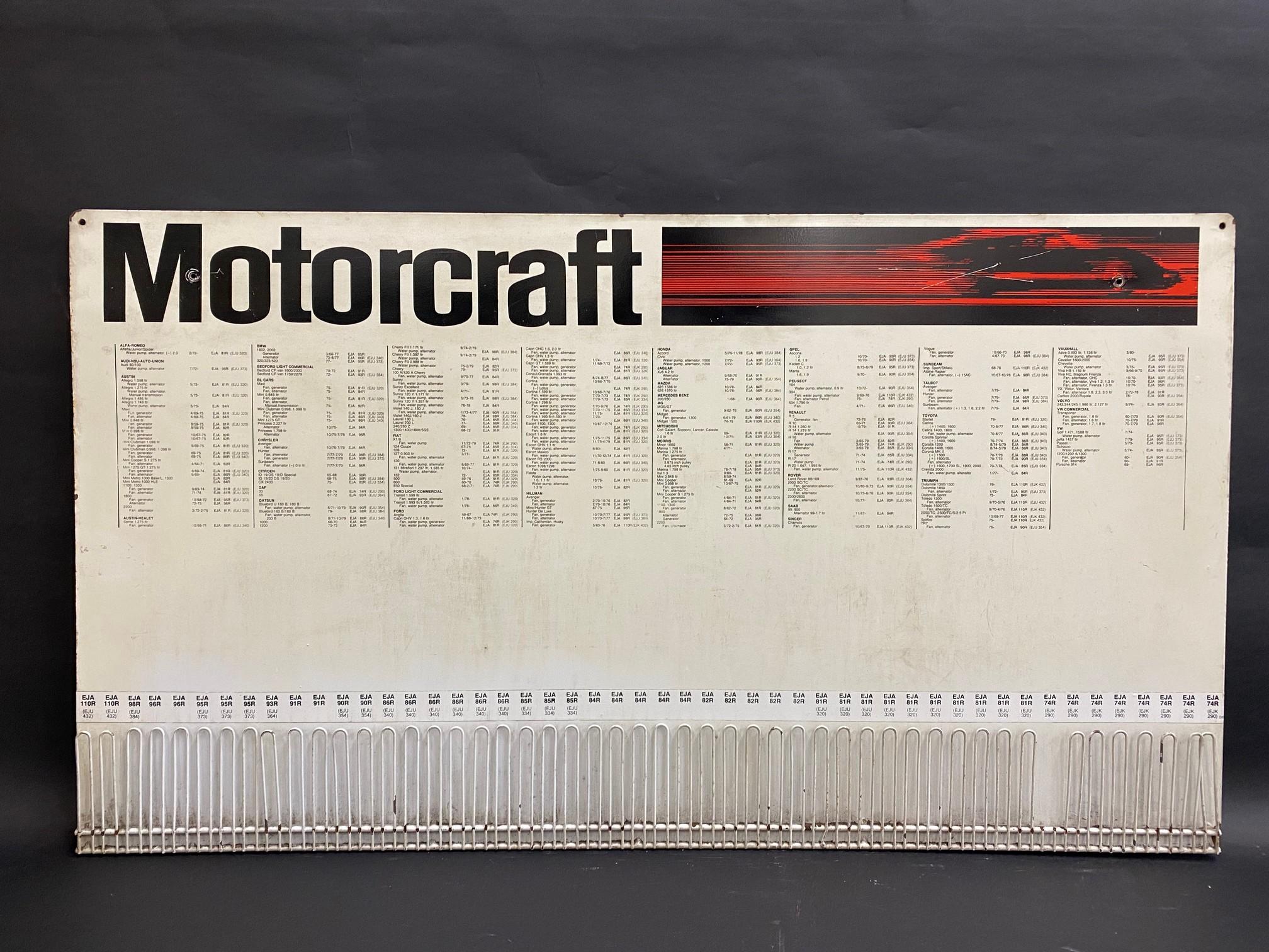 """A Motorcraft fan belts garage workshop hanging display sign, 36 x 20""""."""