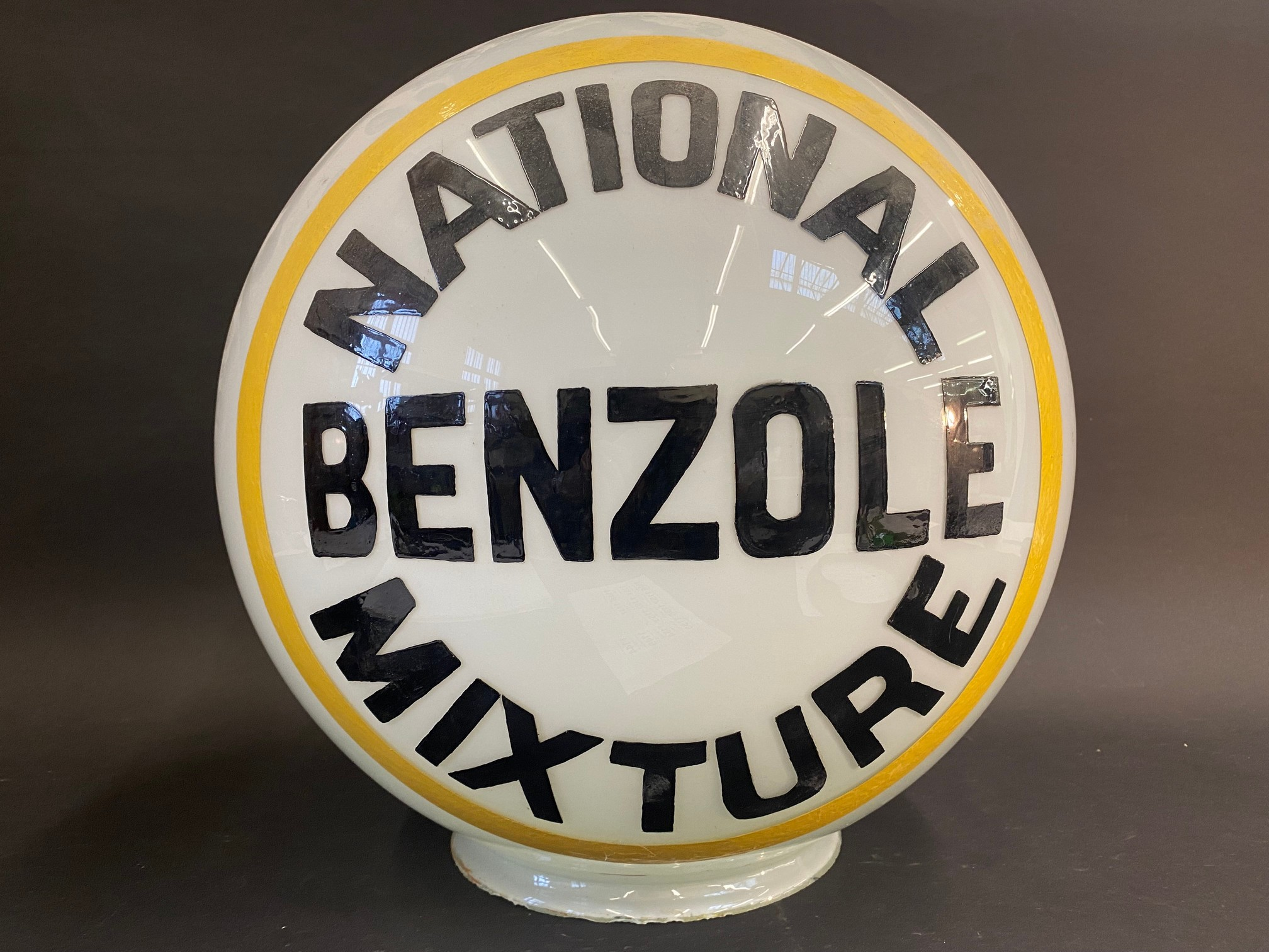A National Benzole Mixture spherical glass petrol pump/post globe, larger neck version, repainted - Image 2 of 5