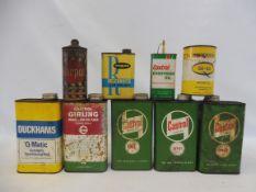 A selection of oil cans including Castrol quart, Karpol, Romac etc.