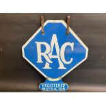 An RAC lozenge shaped double sided enamel sign with hanging hooks and a 'Registered Instructor'