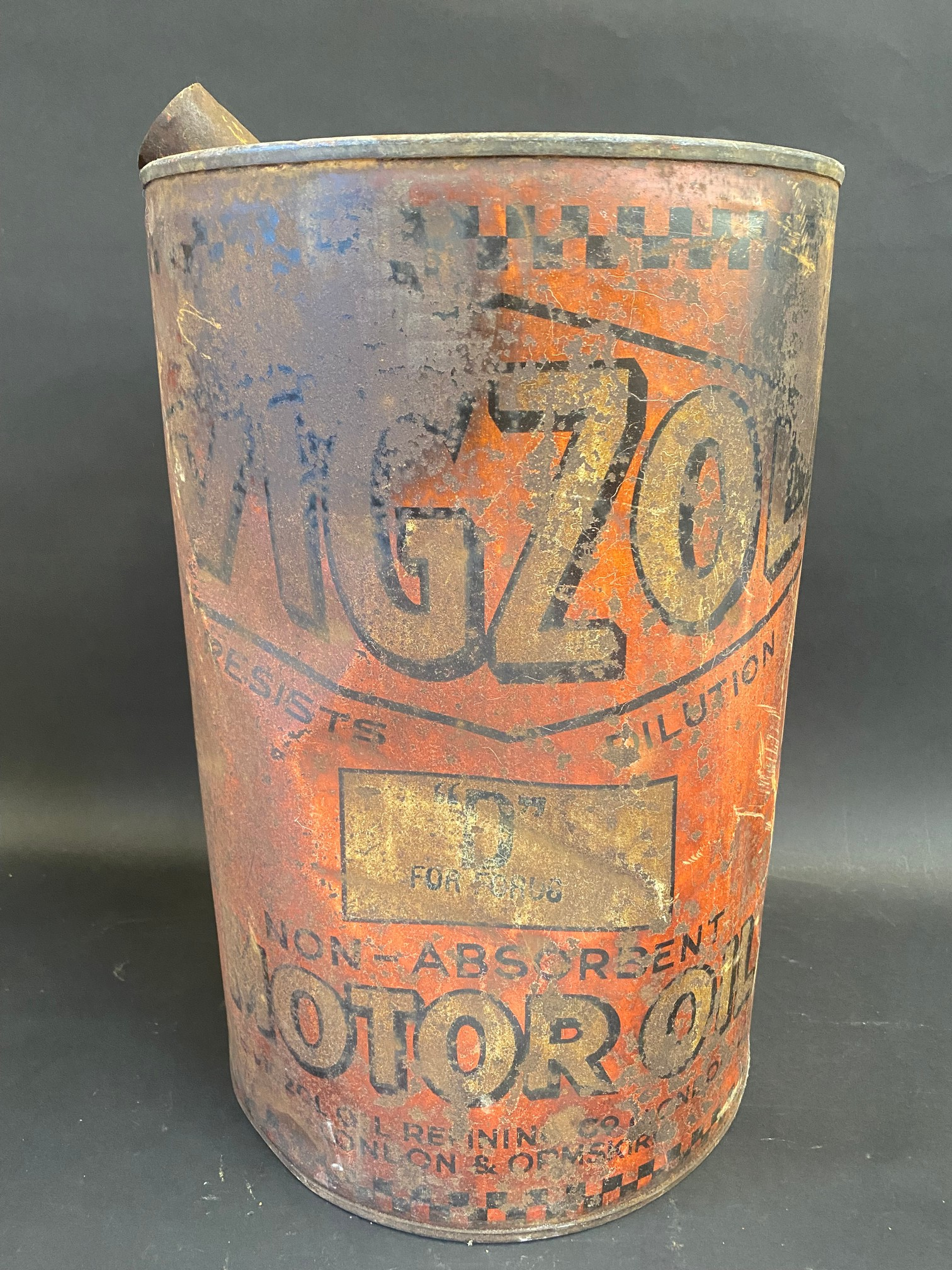 An early Vigzol Motor Oil five gallon drum.