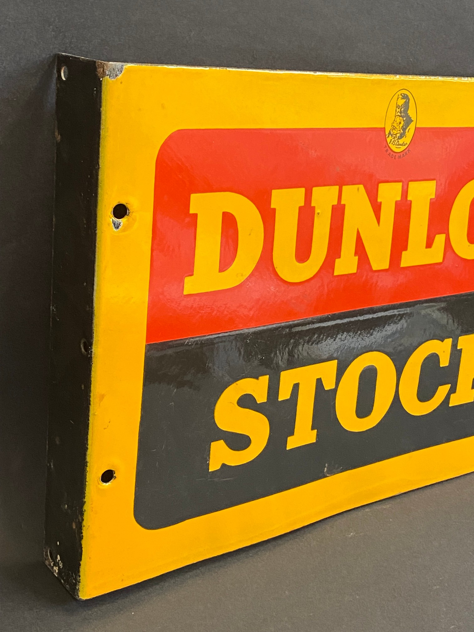 A Dunlop Stock double sided enamel sign with hanging flange, in near mint condition, made by Sur - Image 3 of 4