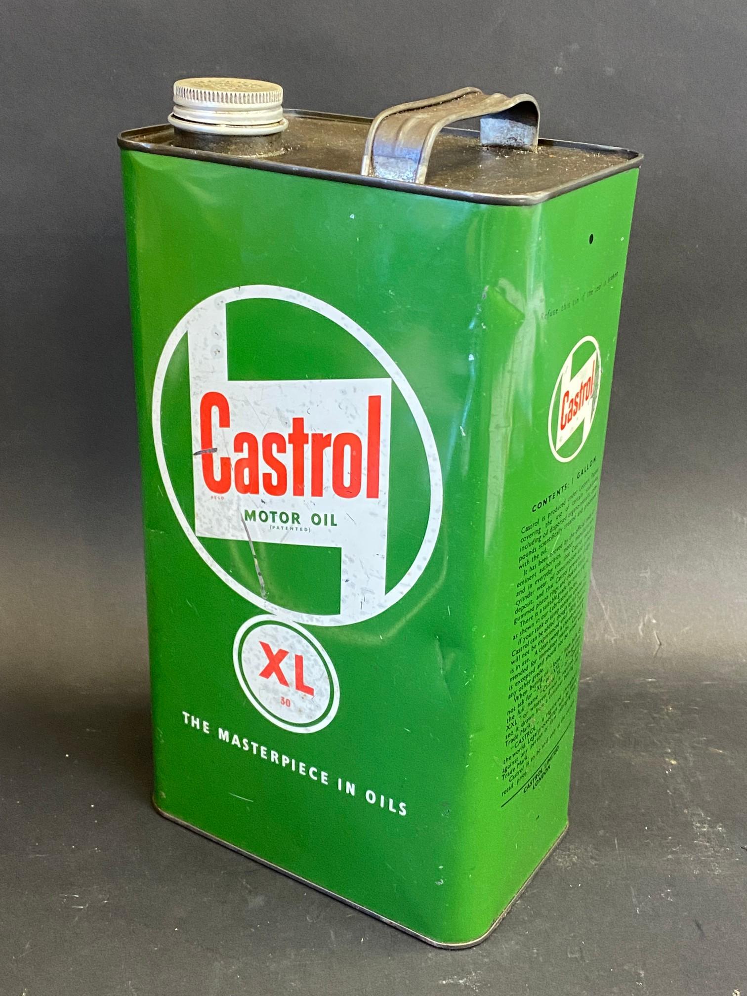 A Castrol Motor Oil XL grade gallon can.