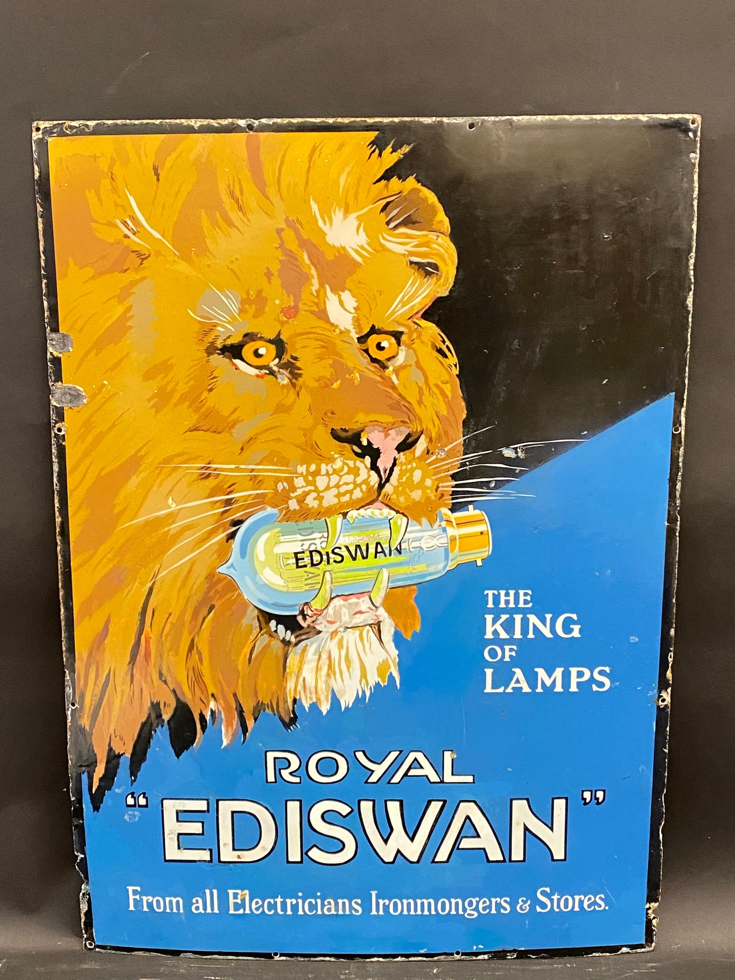 A Royal 'Ediswan' pictorial enamel sign depicting a lion's head, with a bulb in his mouth, restored,