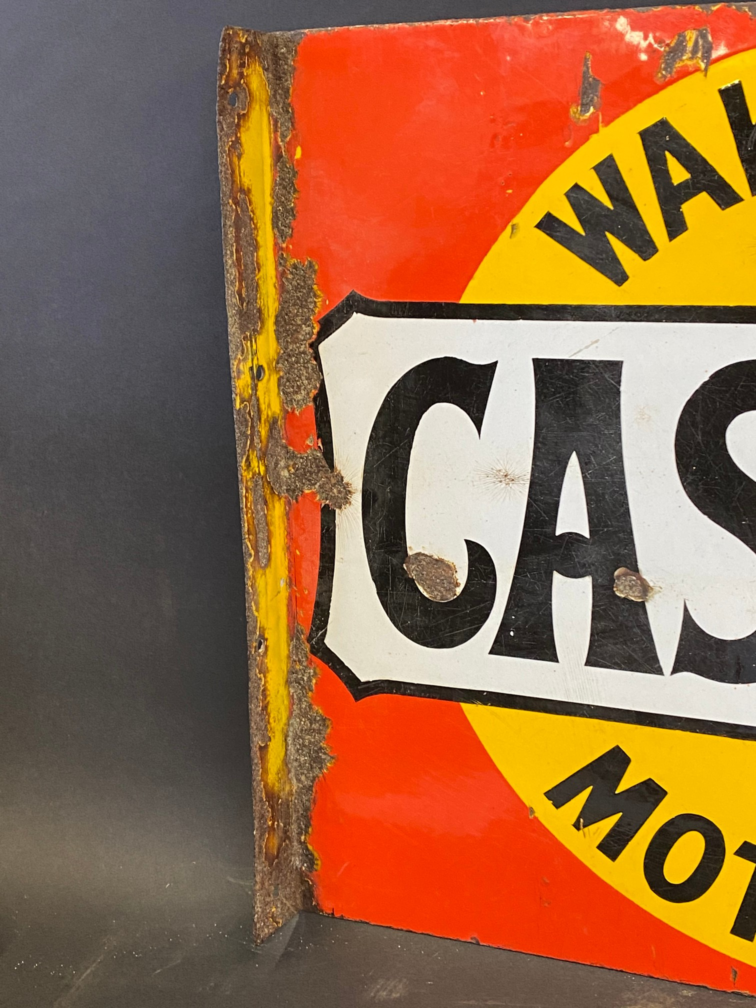 A Wakefield Castrol Motor Oil double sided enamel sign with hanging flange by Bruton of Palmers - Image 2 of 4