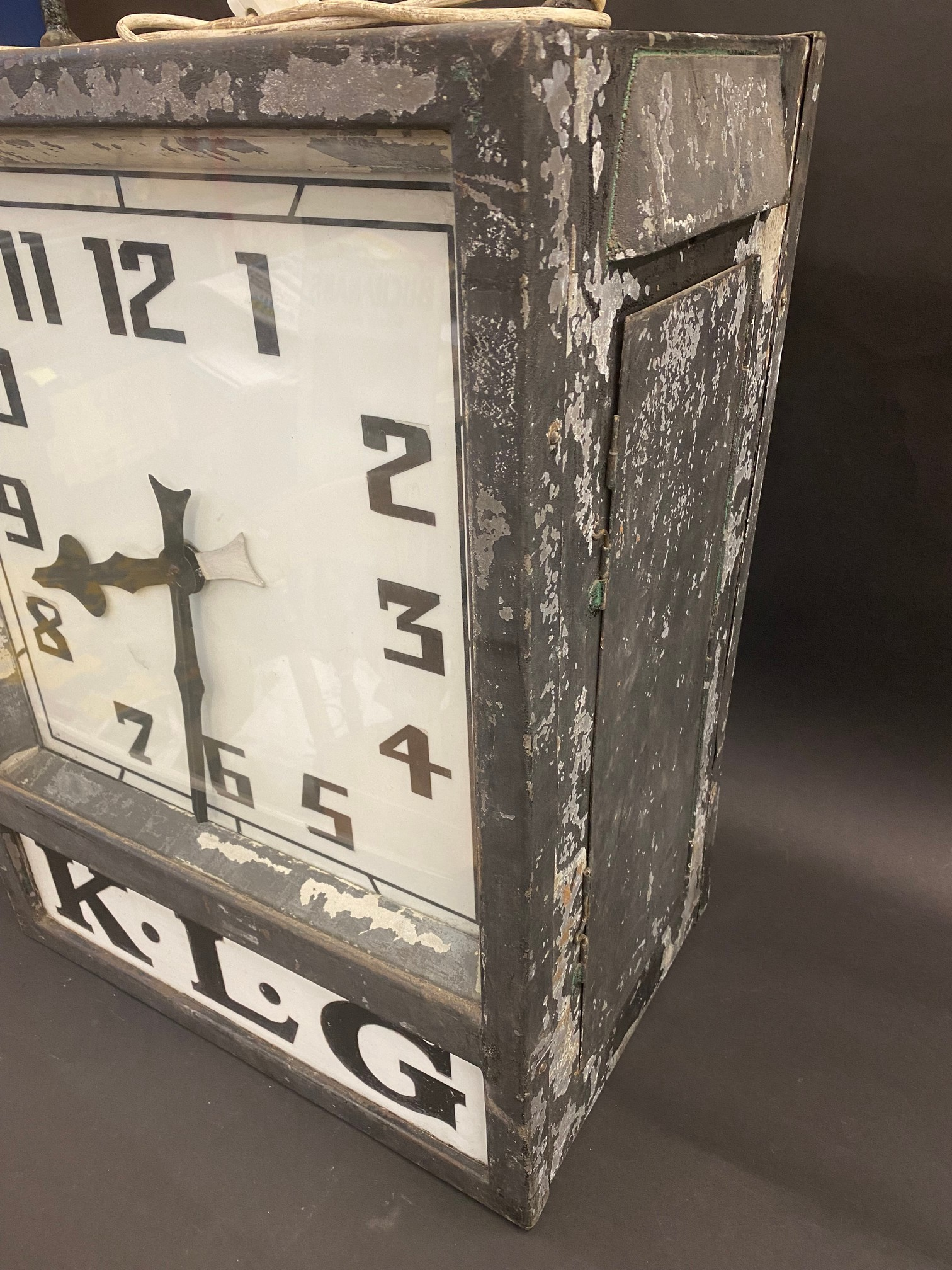 A K.L.G. garage forecourt double sided hanging clock of unusual and attractive form, in very - Image 2 of 12