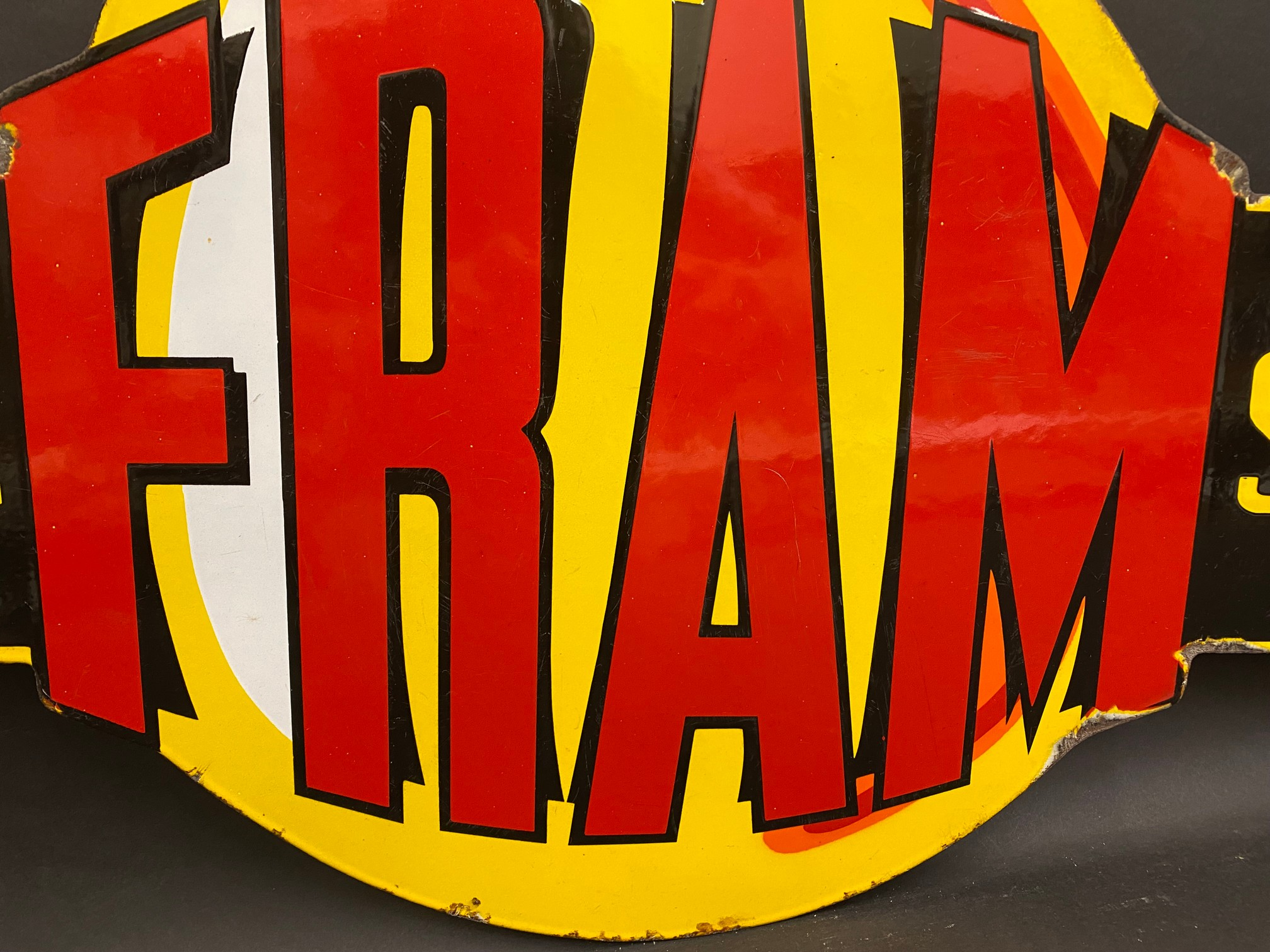 """A very rare Fram 'Official Service' die-cut double sided enamel sign in superb condition, 36 x 21"""". - Image 4 of 9"""
