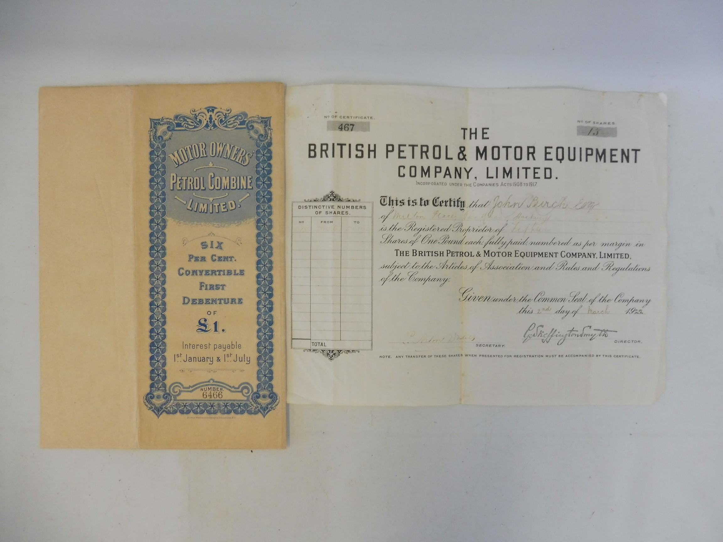 A share certificate for The British Petrol and Motor Equipment Company Limited dated March 1922