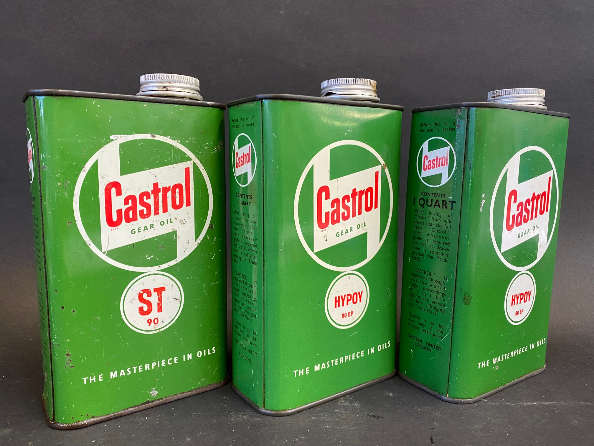 Three Castrol Grease Oil quart cans. - Image 2 of 3