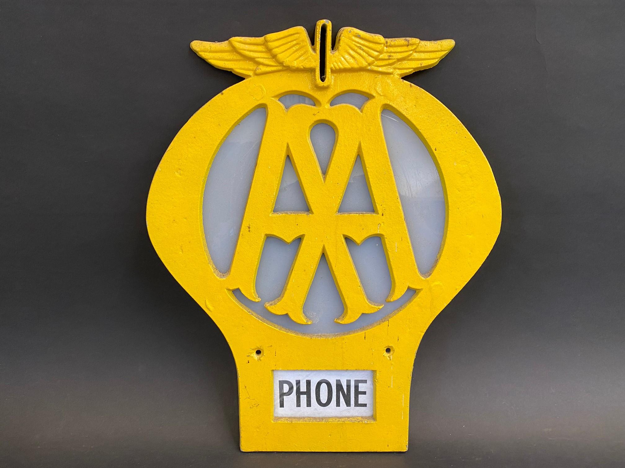 """An AA aluminium die-cut box sign, 13 x 16""""."""